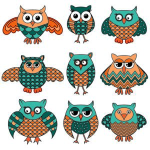 Set Of Nine Stylized Cartoon Ornate Funny Owls In Turquoise And Orange Colors Isolated On The White Background Vector Illustration