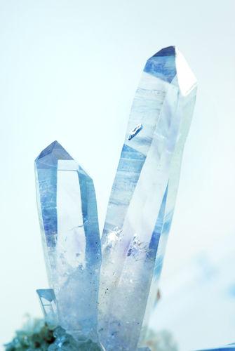 Two Crystals Of Natural Gemstone Blue Quartz