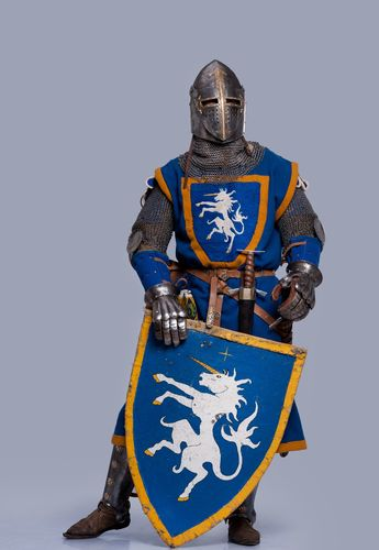 Medieval Knight On Grey Background