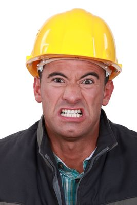 Angry Builder Grimacing