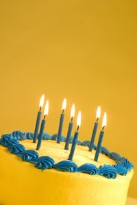 Birthday Cake With Seven Lit Candles