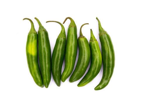 Chile Serrano Hot Chili Pepper On White Background