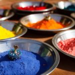 India Symbol Colored Colorful Powder Kumkum In Bowls On Indian Bazaar For Holi And Other Festivals Celebration